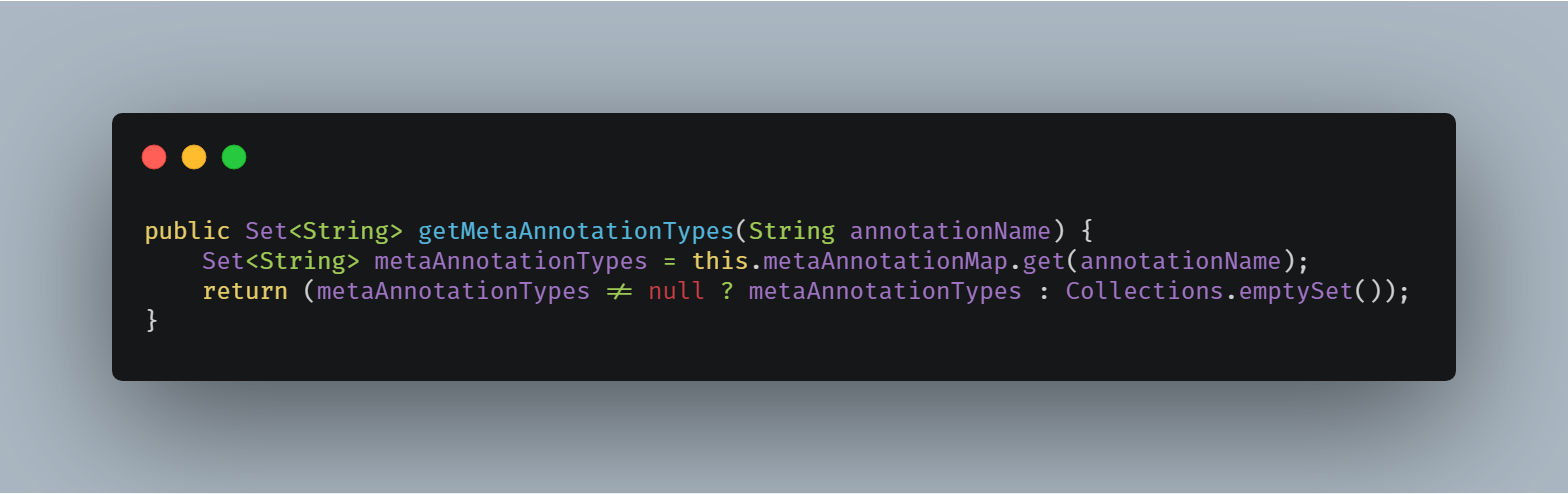 AnnotationMetadataReadingVisitor#getMetaAnnotationTypes